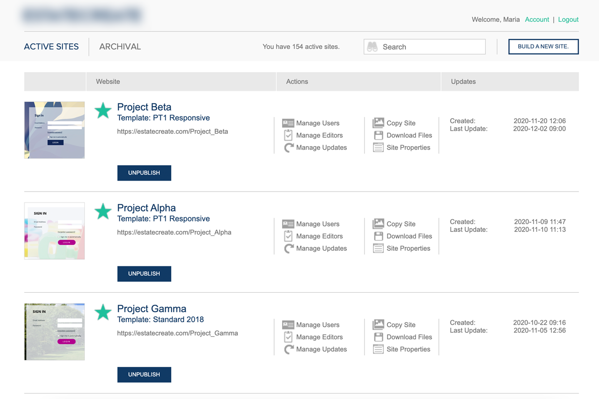 Online data room portal for real estate properties